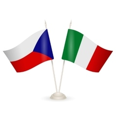 Table stand with flags of Italy and Czech Republic vector image vector image