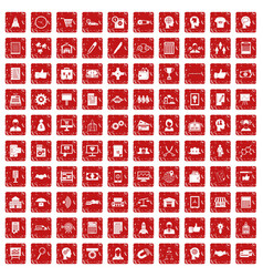 100 business strategy icons set grunge red vector image