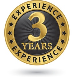 3 years experience gold label vector image vector image