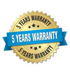 5 years warranty 3d gold badge with blue ribbon vector