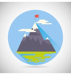 Achievement Top Point Flag Goal Symbol Mountain vector image