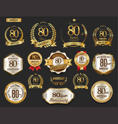 anniversary golden laurel wreath and badges 80 vector image