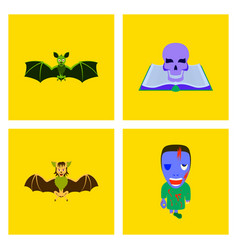 Assembly flat bat book skull zombie men vector