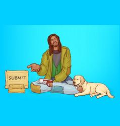 Beggar poor african bum with dog vector