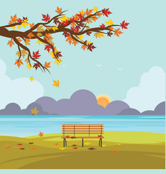 Bench in autumn park with fall leaves vector