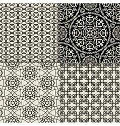 Black and white geometric ornate patterns vector image