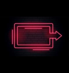 blank neon arrow light frame vector image