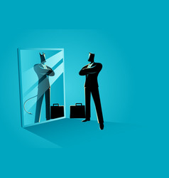 Businessman standing in front of a mirror vector