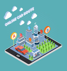 Carsharing isometric composition vector