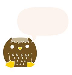Cartoon owl and speech bubble in retro style vector