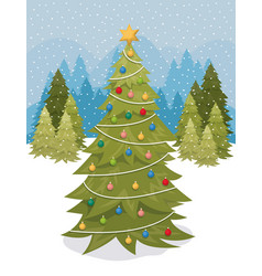 Christmas pine tree in the snowscape vector