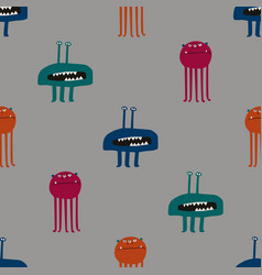 Colorful seamless pattern with funky monsters vector