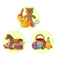 concept of childrens toy icon cartoon style vector image