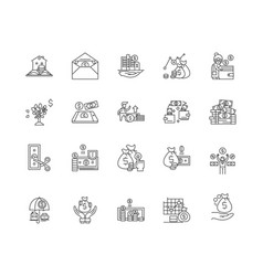 credit union line icons signs set vector image