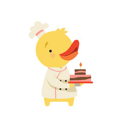 Cute duckling in chef uniform holding cupcake vector
