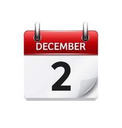 December 2 flat daily calendar icon Date vector