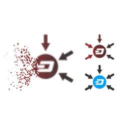 Dispersed pixel halftone dash coin income arrows vector
