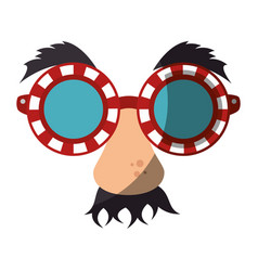 eye glasses with mustache joke mask vector image