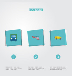 flat icons chopper jeep truck and other vector image