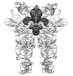 Fleur de lys emblem vector