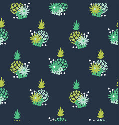 floral pineapple fabric wallpaper seamless vector image
