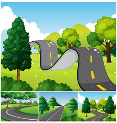 four scenes of park with roads vector image