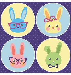 Funny bunny icons vector