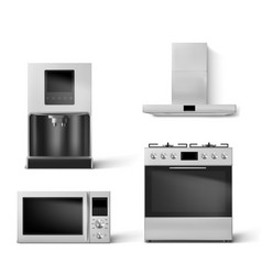 Gas oven hood microwave and coffee machine set vector