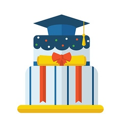Graduation cake flat icon vector