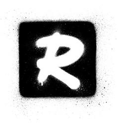 Graffiti r font sprayed in white over black square vector