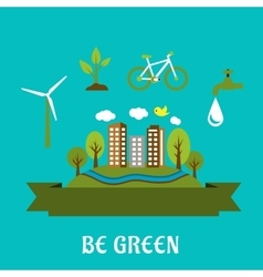 Green eco city flat design vector