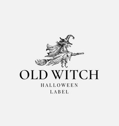 halloween logo or label template hand drawn old vector image