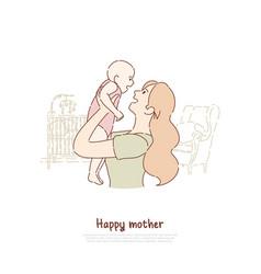 Happy mother holding newborn child vector