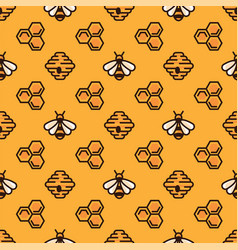 honey bee bee hive and honeycomb on yellow vector image