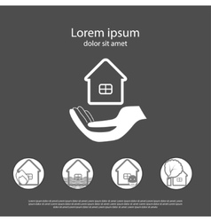 House insurance logo with insurance cases icons vector