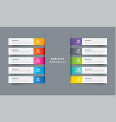 infographics tab index in horizontal paper index vector image