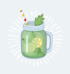 jar with apple smoothie with striped straw glass vector image
