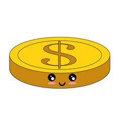 Kawaii money coin icon vector