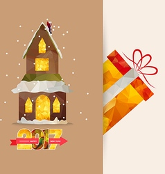 Merry christmas and happy new year 2017 polygonal vector