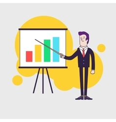 Modern businessman points to flipchart with vector image