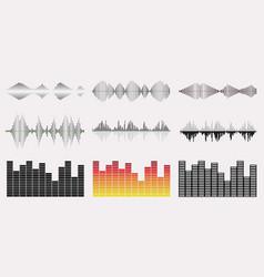 Music wave graph set vector