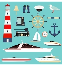 Nautical and marine icons design element sea vector