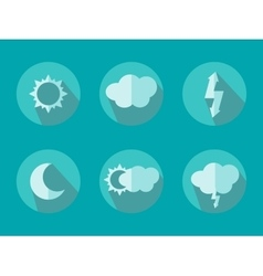 Of Flat Color Weather Icons With Long Shadow vector image