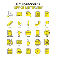 office and interview icon set yellow futuro vector image