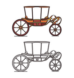 old carriage for marriage wedding vintage chariot vector image