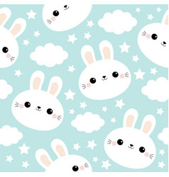 Seamless pattern white rabbit bunny face cloud in vector