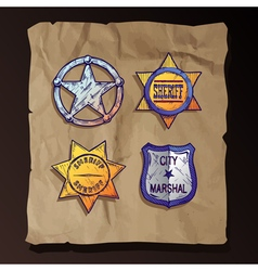 Sheriff stars on old paper background vector image