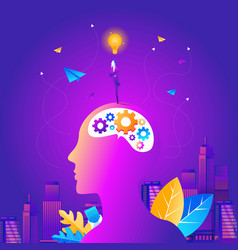 silhouette of the head brain and pulses process vector image