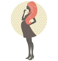 Silhouette pregnant woman in retro style vector