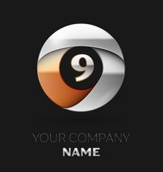 silver number nine logo symbol in circle shape vector image